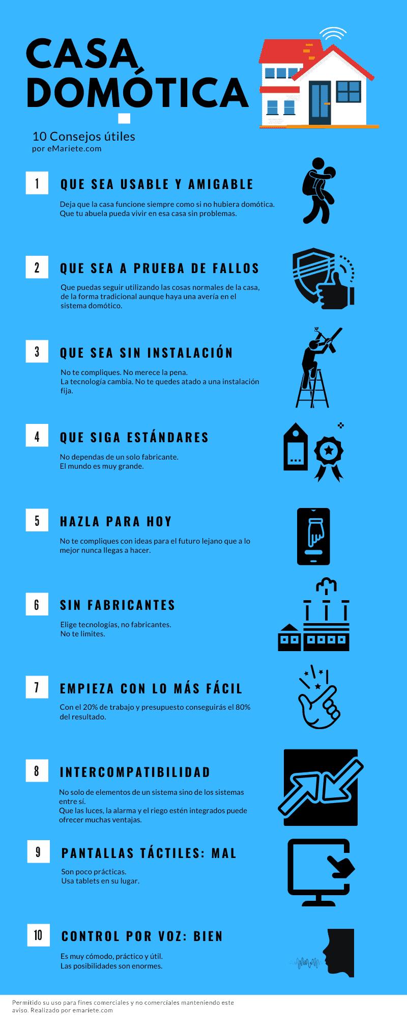 Infografía consejos casa domótica