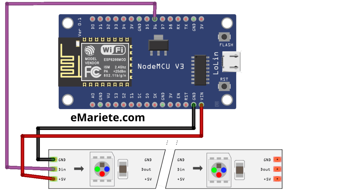 WS2812 connection to NodeMCU