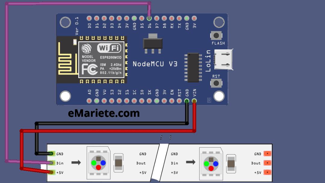 Conexión WS2812 a NodeMCU